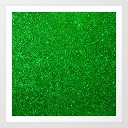 Emerald Green Shiny Metallic Glitter Art Print