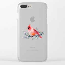 Watercolor red cardinal on berry branch Clear iPhone Case
