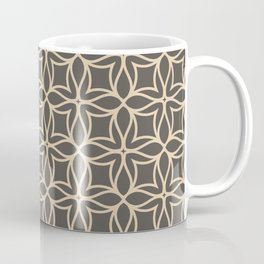 Brown and Tan Line Art Flower Petal Pattern 2021 Color of the Year Urbane Bronze and Ivoire Coffee Mug