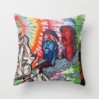 grafitti Throw Pillows featuring zolliophone shop photogragh monday queen street grafitti alley cheech and chong  by ZOLLIOPHONE  SHOP