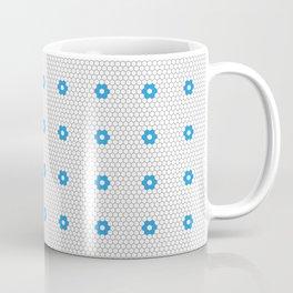Blue Flower Hexagon Tile Pattern Coffee Mug