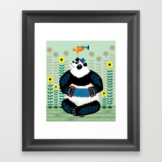 Panda Piazzolla and The Trumpet Bird Framed Art Print