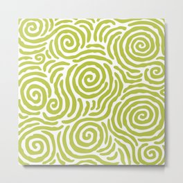 Ripple Effect Pattern Chartreuse Metal Print