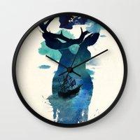 captain hook Wall Clocks featuring Captain Hook by Robert Farkas