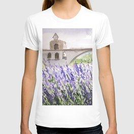 Lavenders Field and Bridge in Avignon T-shirt