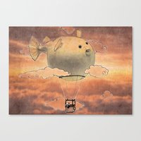 gorillaz Canvas Prints featuring Panda fliying in a Blow fish 2 by Barruf