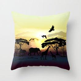 Savanna landscape with animals. African illustration Throw Pillow