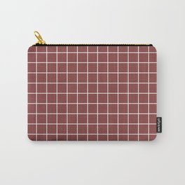 Brandy - purple color - White Lines Grid Pattern Carry-All Pouch