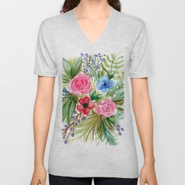 Watercolor Floral Bouquet No. 1 Unisex V-Neck