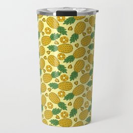 Doodle Pineapple - Tropical Pattern Travel Mug