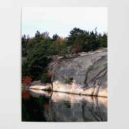 Fall Colors Accentuating Cliff Reflections Poster