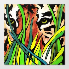 Tiger Eyes Looking Through Tall Grass By annmariescreations Canvas Print