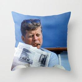 John F Kennedy Smoking Throw Pillow