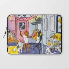 Canine Tourists On The Subway To Coney Island Laptop Sleeve