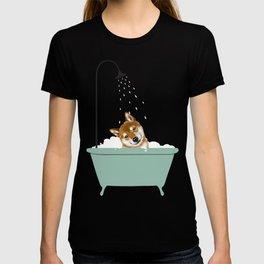 Shiba Inu Enjoying Bubble Bath T-shirt