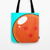 dragonball z Tote Bags featuring Sacred Dragonball by Hussein Ibrahim