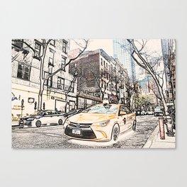 Taxi New York City Usa Street ArtWork Painting Canvas Print