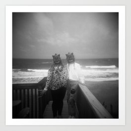 Creepy Cat Sisters on the Coast - Outer Banks - Black and White Film Photograph Art Print
