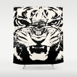 White Tiger Vector Shower Curtain