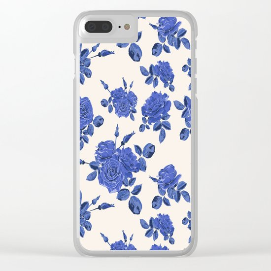 Seamless blue roses pattern Clear iPhone Case