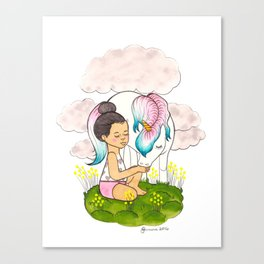 Top Knot & Unicorn (snowcone) Canvas Print