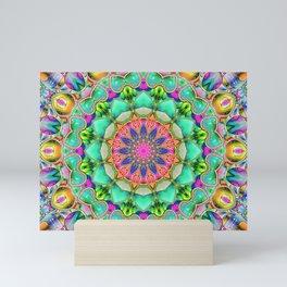 Pink Turquoise Blue Kaleidoscope Psychedelic Pattern Mini Art Print