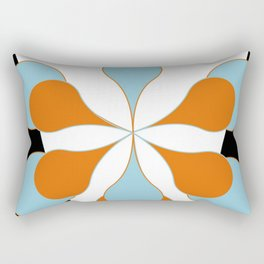 Mid-Century Modern Art 1.4 Aqua Orange Flower Rectangular Pillow