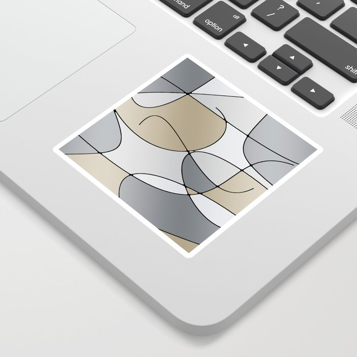 ABSTRACT CURVES #1 (Grays & Beiges) Sticker