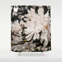 antique Shower Curtains featuring Antique Magnolias by A Wandering Soul