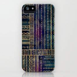 Tribal Ethnic pattern gold on painted texture iPhone Case
