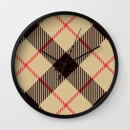 Tan Tartan with Diagonal Black and Red Stripes Wall Clock