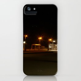 Train and Bus stop in Germany by night iPhone Case