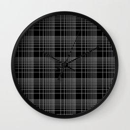 Back to School- Simple Handdrawn Grid Pattern- Black & White -Mix & Match with Simplicity of Life Wall Clock