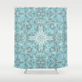 Soft Teal Blue & Grey hand drawn floral pattern Shower Curtain