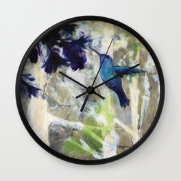 Hummingbird Haze Wall Clock