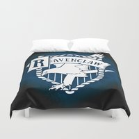 ravenclaw Duvet Covers featuring White Ravenclaw Crest by Sharayah Mitchell