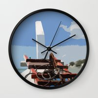 bow Wall Clocks featuring Bow by Sony Purba