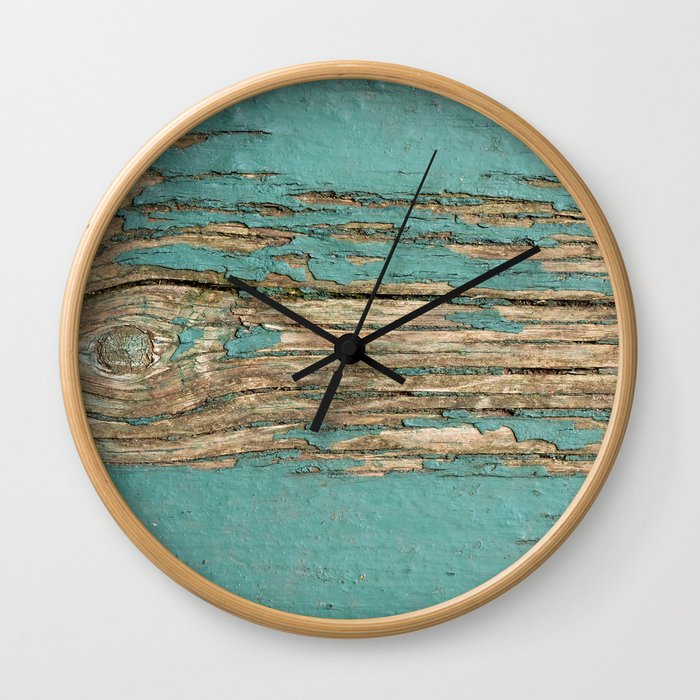 Rustic Wood Ages Gracefully - Beautiful Weathered Wooden Plank - knotty wood weathered turquoise pai Wall Clock