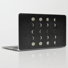Moon Phases, Black White Decor, Bohemian, Magic, Lunar Cycle Laptop & iPad Skin