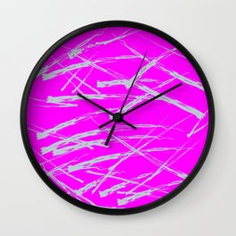 Neon Magenta background with Rough Blue Grey Paint Strokes, Teenage Girl Bedding Wall Clock