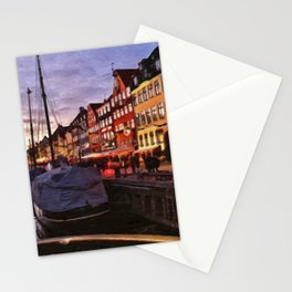 Digital Painting of Copenhagen's Nyhavn at Night Just after Sunset Stationery Cards