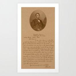 Abraham Lincoln's Letter To Mrs. Bixby Art Print
