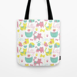 Abstract lime green pink cute cats pattern modern typography Tote Bag