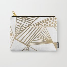 Elegant faux gold geometric stripes polka dots pattern Carry-All Pouch