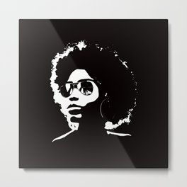 Cool Afro on Black Metal Print