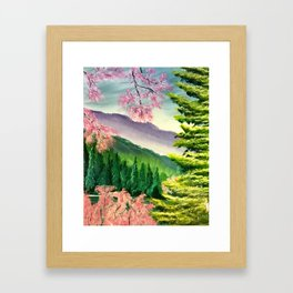 Cherry trees in spring Framed Art Print