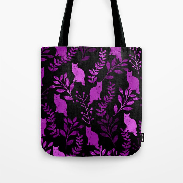 Watercolor Floral and Cat II Tote Bag