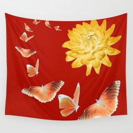 YELLOWISH BROWN DAHLIA FLOWER &  ORANGE BUTTERFLIES ALLURE Wall Tapestry