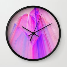 Pink sunset in the glowing city Wall Clock