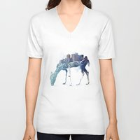 deer V-neck T-shirts featuring City Deer by Robert Farkas
